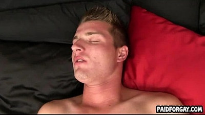 Straight hunk tugs on his cock for cash