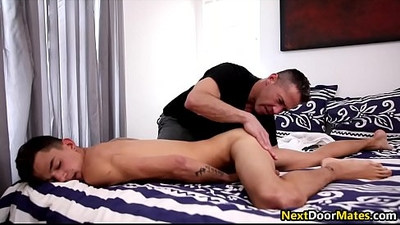 Twink son asks step dad for a massage