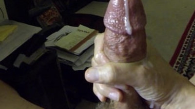 Jacking off my hard black monster cock with slow motion cum shot