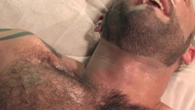 Hairy muscular men having sex
