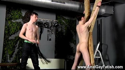 Gay clip of Victim Aaron gets a whipping, then gets his crevice
