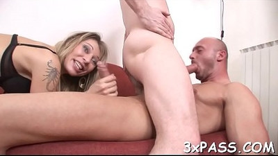 Two boys are fucking each other and their hot girlfriend